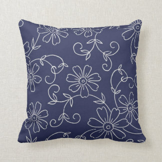 Navy Blue and Cream Floral Decorative Pillow Throw Cushion