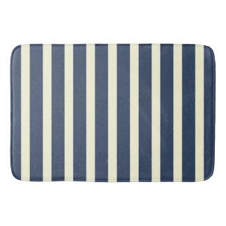 Navy blue and cream stripes bath mat