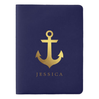 Navy Blue and Faux Gold Foil Anchor Extra Large Moleskine Notebook