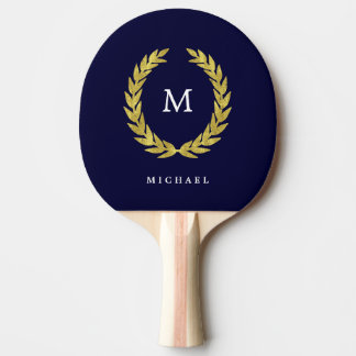 Navy Blue and Faux Gold Laurel Wreath | Monogram Ping Pong Paddle