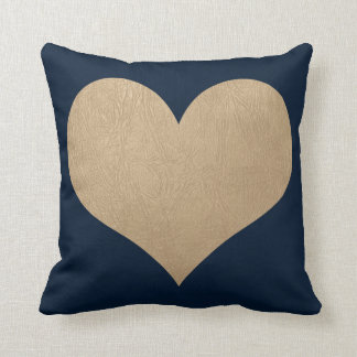 navy blue and faux gold leather heart cushion