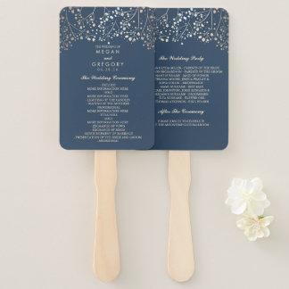 Navy Blue and Gold | Baby's Breath Wedding Program Hand Fan