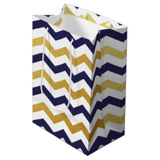 Navy Blue and Gold Chevron Pattern Gift Bag