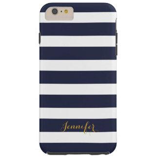 Navy Blue and Gold Classic Stripes Monogram Tough iPhone 6 Plus Case