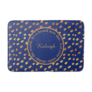 Navy Blue and Gold Confetti Inspirational Bath Mat