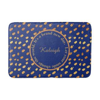 Navy Blue and Gold Confetti Inspirational Bath Mat Bath Mats