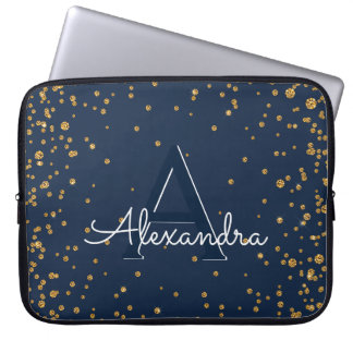 Navy Blue and Gold Confetti Monogram Laptop Sleeve