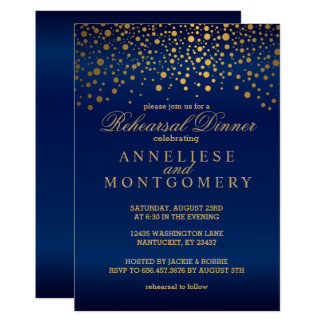 Navy Blue and Gold Confetti Rehearsal Dinner Card