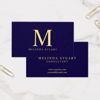 Navy Blue and Gold Elegant Monogram Business Card