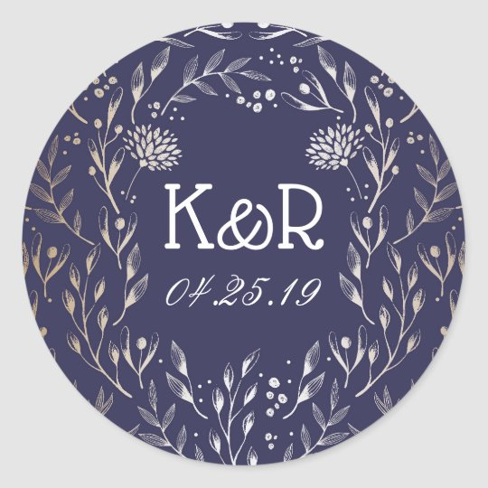 Navy Blue and Gold Floral Garden Wedding Classic Round Sticker