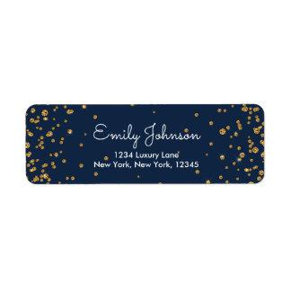 Navy Blue and Gold Foil Confetti Birthday Return Address Label