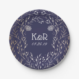 Navy Blue and Gold Foil Flowers Vintage Paper Plate