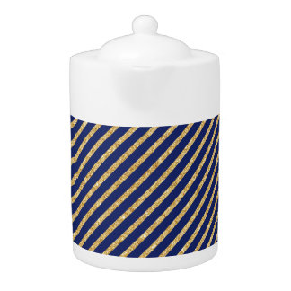 Navy Blue and Gold Glitter Diagonal Stripe Pattern