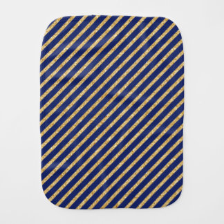 Navy Blue and Gold Glitter Diagonal Stripe Pattern Burp Cloth