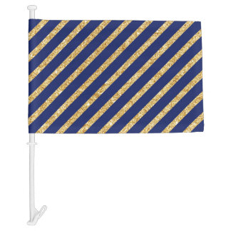 Navy Blue and Gold Glitter Diagonal Stripe Pattern Car Flag