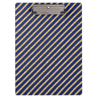 Navy Blue and Gold Glitter Diagonal Stripe Pattern Clipboard