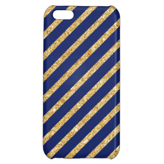 Navy Blue and Gold Glitter Diagonal Stripe Pattern Cover For iPhone 5C