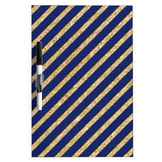 Navy Blue and Gold Glitter Diagonal Stripe Pattern Dry Erase Board