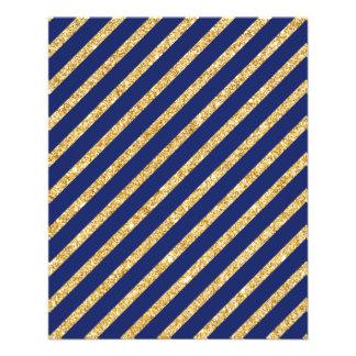 Navy Blue and Gold Glitter Diagonal Stripe Pattern Flyer