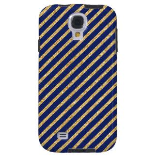 Navy Blue and Gold Glitter Diagonal Stripe Pattern Galaxy S4 Case