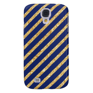 Navy Blue and Gold Glitter Diagonal Stripe Pattern Galaxy S4 Cases