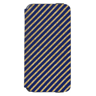 Navy Blue and Gold Glitter Diagonal Stripe Pattern Incipio Watson™ iPhone 6 Wallet Case