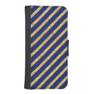 Navy Blue and Gold Glitter Diagonal Stripe Pattern iPhone SE/5/5s Wallet Case