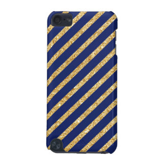Navy Blue and Gold Glitter Diagonal Stripe Pattern iPod Touch (5th Generation) Cases