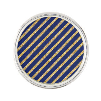 Navy Blue and Gold Glitter Diagonal Stripe Pattern Lapel Pin