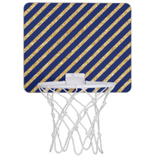 Navy Blue and Gold Glitter Diagonal Stripe Pattern Mini Basketball Hoop