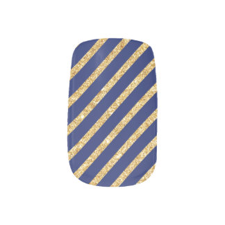 Navy Blue and Gold Glitter Diagonal Stripe Pattern Minx Nail Art