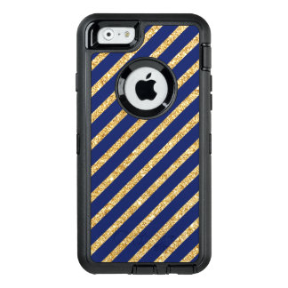 Navy Blue and Gold Glitter Diagonal Stripe Pattern OtterBox Defender iPhone Case