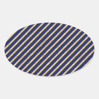 Navy Blue and Gold Glitter Diagonal Stripe Pattern Oval Sticker