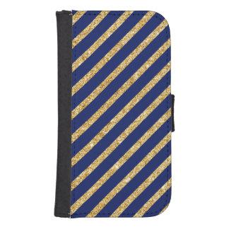 Navy Blue and Gold Glitter Diagonal Stripe Pattern Samsung S4 Wallet Case