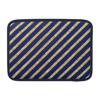 Navy Blue and Gold Glitter Diagonal Stripe Pattern Sleeve For MacBook Air