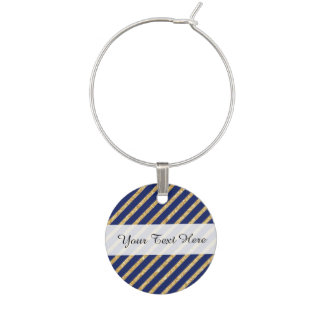 Navy Blue and Gold Glitter Diagonal Stripe Pattern Wine Charm