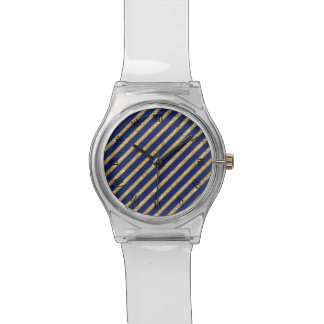 Navy Blue and Gold Glitter Diagonal Stripe Pattern Wristwatches