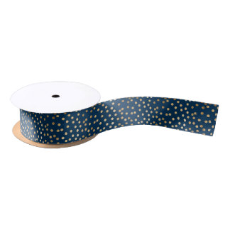 Navy Blue and Gold Glitter Dot Ribbon Satin Ribbon