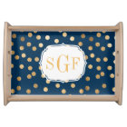 Navy Blue and Gold Glitter Dots Monogram Tray