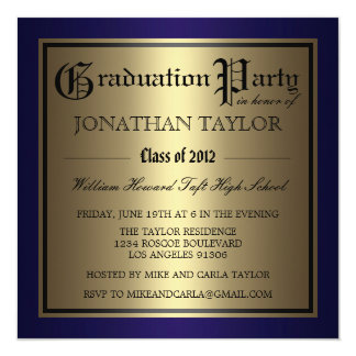 Navy Blue and Gold Graduation Card