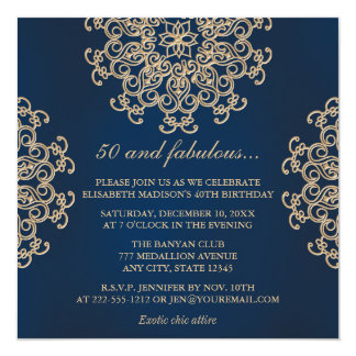Navy Blue and Gold Indian Style 50th Birthday Card