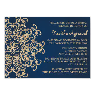 Navy Blue and Gold Indian Style Bridal Shower 13 Cm X 18 Cm Invitation Card