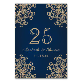 Navy Blue and Gold Indian Style Wedding Number Table Cards