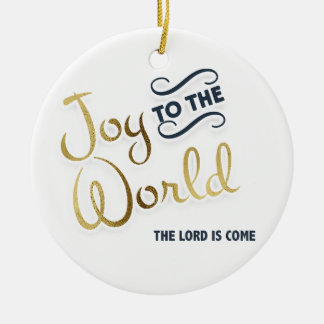 Navy Blue and Gold Joy to World The Lord is Come Ceramic Ornament