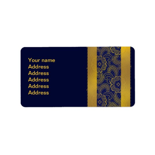 Navy Blue and Gold Lace Wedding Address Label