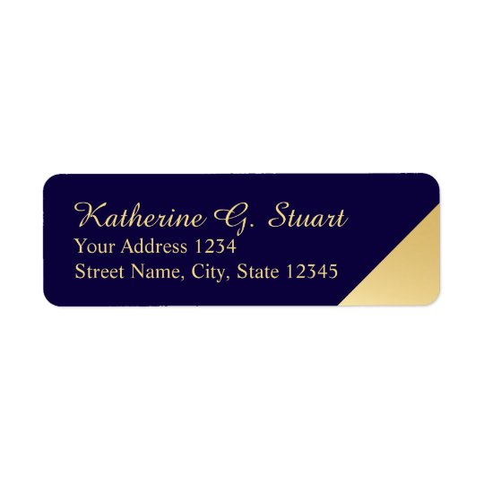 Navy Blue and Gold Modern Elegant Return Address Label
