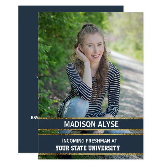 Navy Blue and Gold Photo Trunk Party Card