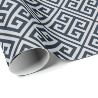 Navy Blue And Gray Greek Key Wrapping Paper