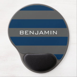 Navy Blue and Gray Rugby Stripes with Custom Name Gel Mouse Pad