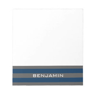 Navy Blue and Gray Rugby Stripes with Custom Name Notepads